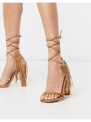 Public Desire venga fringed sandals in light tan