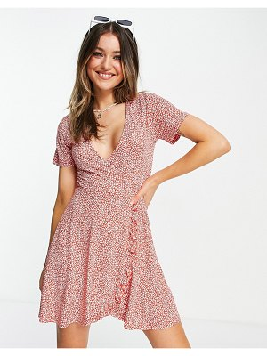 Pull & Bear floral dress in pink