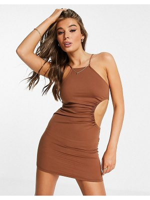 Pull & Bear racer back dress with cut out in brown