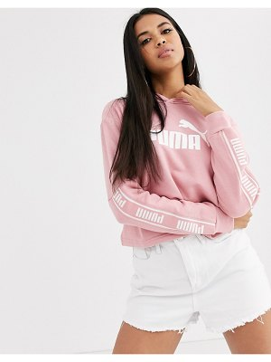 PUMA amplified cropped hoody in rose-pink