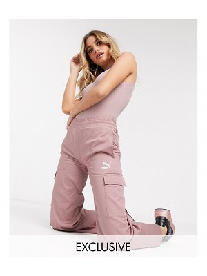 PUMA cargo wide leg pants in rose