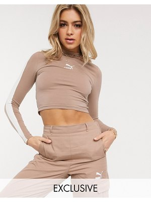 PUMA classics long sleeve crop top in cream exclusive to asos