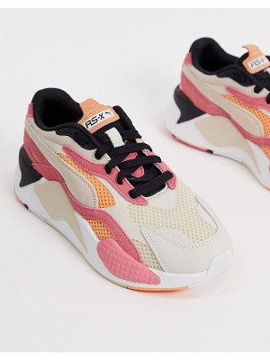 PUMA rs-x3 mesh pop sneakers in pink and cream