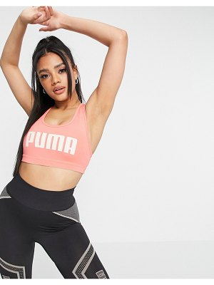 PUMA training mid support text logo 4 keeps sports bra in pink