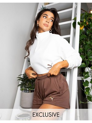 PUMA training x stef fit high waist 5 inch loose shorts in chocolate brown exclusive to asos
