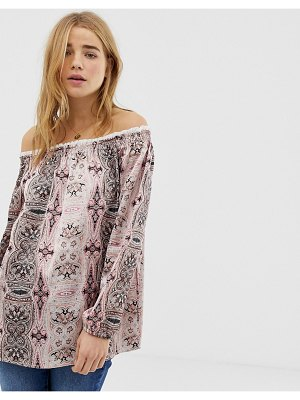 QED London off shoudler tunic top in border print