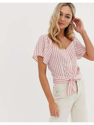 QED London tie front crop top in pink stripe