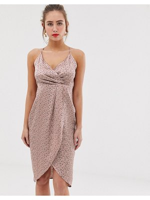 QED London wrap front slip midi dress