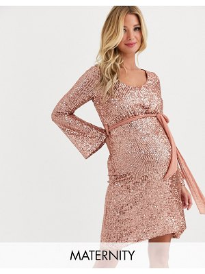 Queen Bee sequin skater dress with belt in rose gold-pink