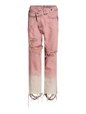 R13 distresssed crossover jeans