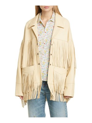 R13 fringe trim leather jacket