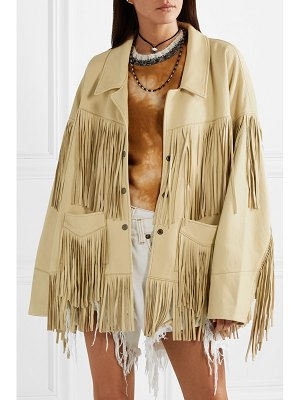 R13 fringed textured-leather jacket
