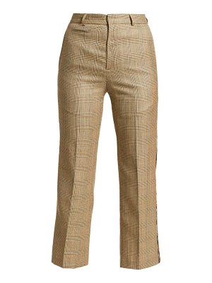 R13 plaid wool-blend tuxedo trousers