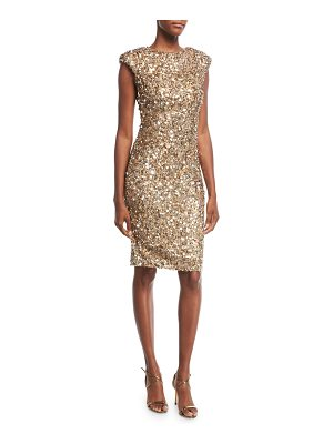 RACHEL GILBERT Sequined Cap-Sleeve Cocktail Dress