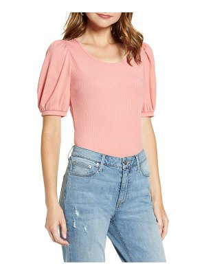 Rachel Parcell ribbed puff sleeve tee
