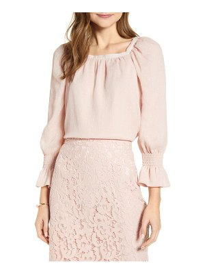 Rachel Parcell square neck textured long sleeve blouse