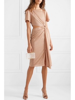 Rachel Zoe pauline cutout gathered metallic stretch-knit dress