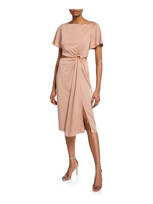 Rachel Zoe Pauline Draped Metallic Cutout Cocktail Dress