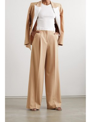 RACIL two-tone twill-trimmed wool-blend wide-leg pants