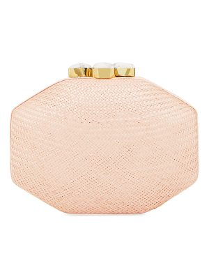 RAFE Sofia Straw Clutch Polygon Bag