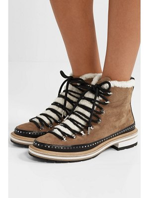 Rag & Bone compass studded leather and shearling-trimmed suede ankle boots