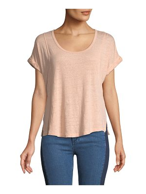 RAG & BONE Lottie Scoop-Neck Short-Sleeve Linen Tee