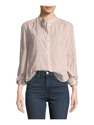 Rag & Bone Prairie Long-Sleeve Striped Crinkled Peasant Blouse