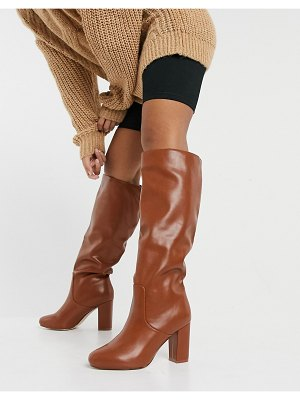 Raid dileni pull on knee boots in chestnut-tan
