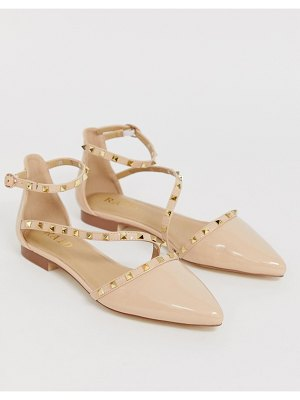 Raid eden nude patent studded flat shoes-beige