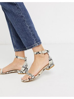 Raid harper two part flat sandals in snake-beige