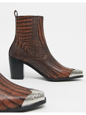 Raid priscilla western boots in brown croc with toe cap