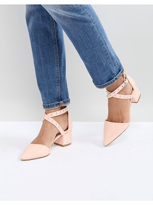 Raid debby pink studded patent mid heeled shoes