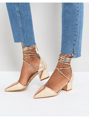 Raid lucky rose gold ankle tie block heeled shoes