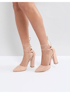 Raid pamela ankle tie block heeled shoes
