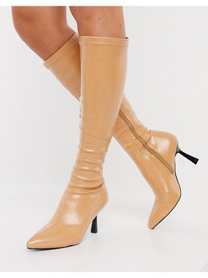 Raid sandie knee boots with flared stiletto heel in beige