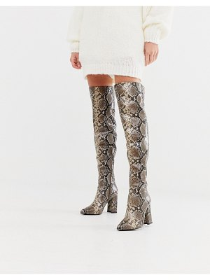 Raid sloan over the knee snake print boots-beige