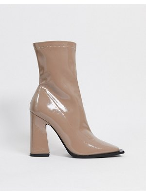 Raid valencia patent heeled sock boots in taupe-beige