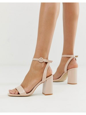 Raid wink blush patent square toe block heeled sandals-beige