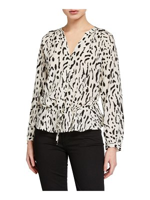 Rails Marti Printed Button-Front Long-Sleeve Top