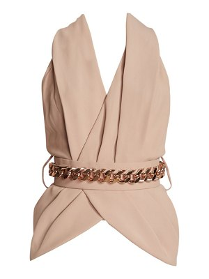 Ralph and Russo belted silk crepe blouse
