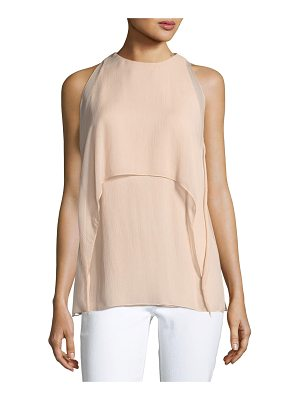 RALPH LAUREN COLLECTION Ashley High-Neck Sleeveless Crinkle Chiffon Blouse