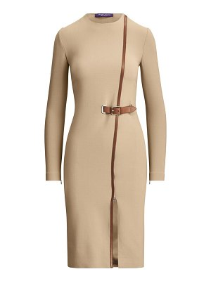 Ralph Lauren Collection evelina leather trim stretch-wool dress