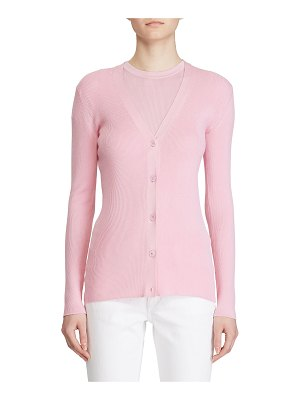 Ralph Lauren Collection Fitted Silk Cardigan Sweater