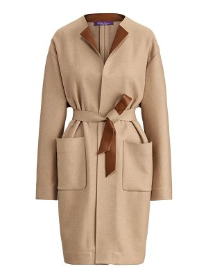Ralph Lauren Collection katerina leather-trim wool-blend coat