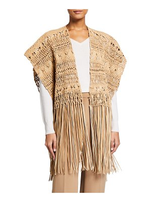 Ralph Lauren Collection Krystie Macrame Leather Poncho