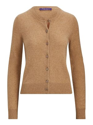 Ralph Lauren Collection leather trim cashmere cardigan