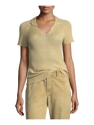 RALPH LAUREN COLLECTION Short-Sleeve Raglan Crochet Polo Top