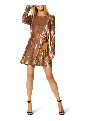 Ramy Brook hallie sequin belted long sleeve minidress
