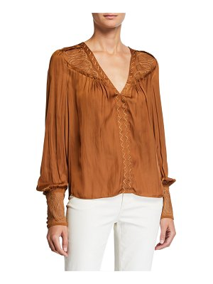 Ramy Brook Juston Embroidered V-Neck Bishop-Sleeve Blouse