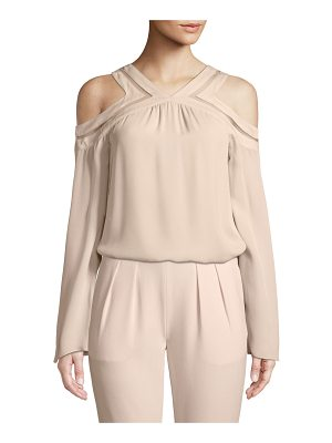 RAMY BROOK Lex Cold-Shoulder Silk Blouse With Mesh Trim